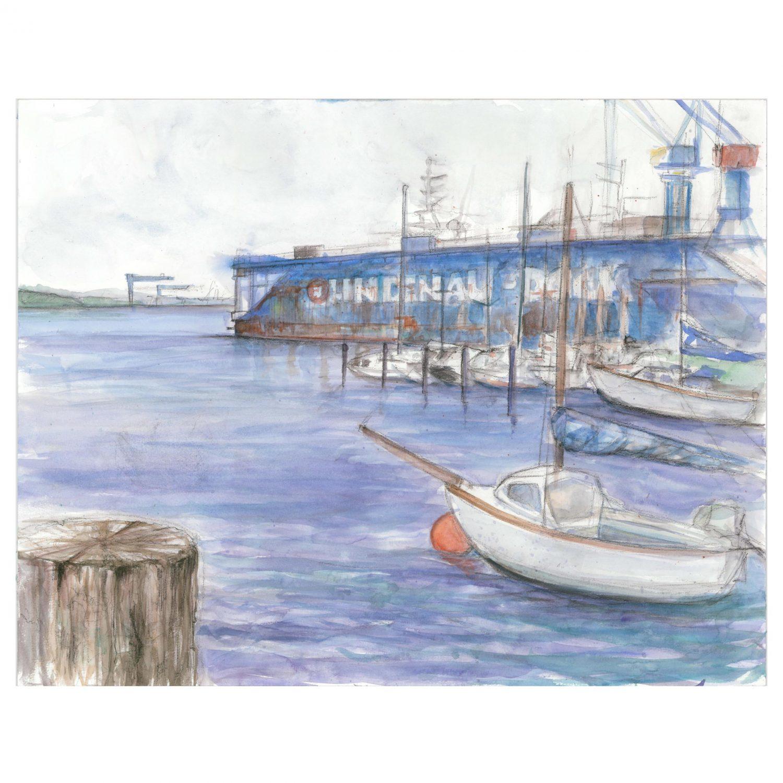 Boote, 2014 Aquarell 60x50cm