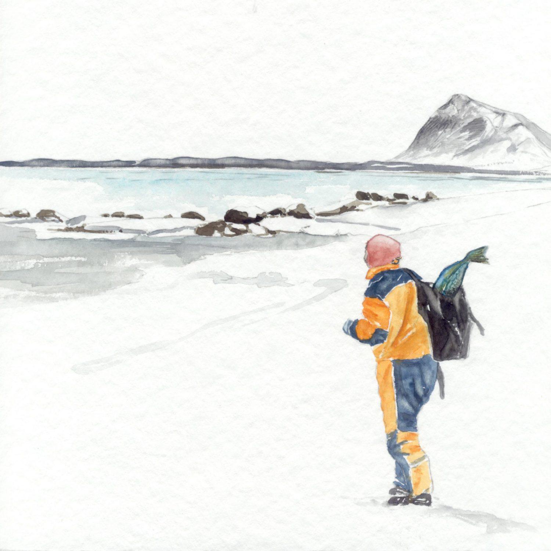 Fisch im Rucksack, 2010 Aquarell,
