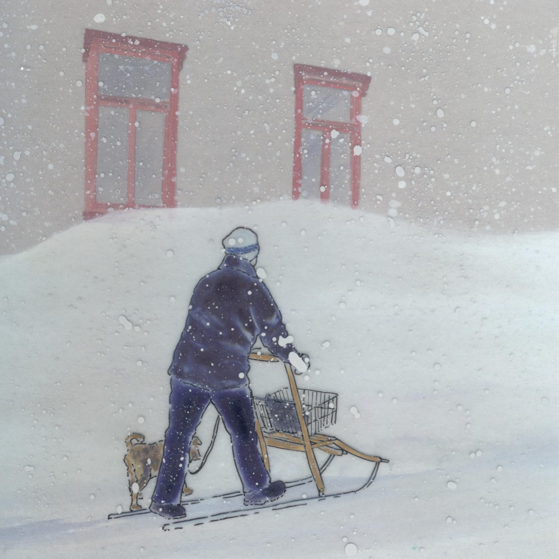 Frau im Schneesturm., 2010 Aquarell