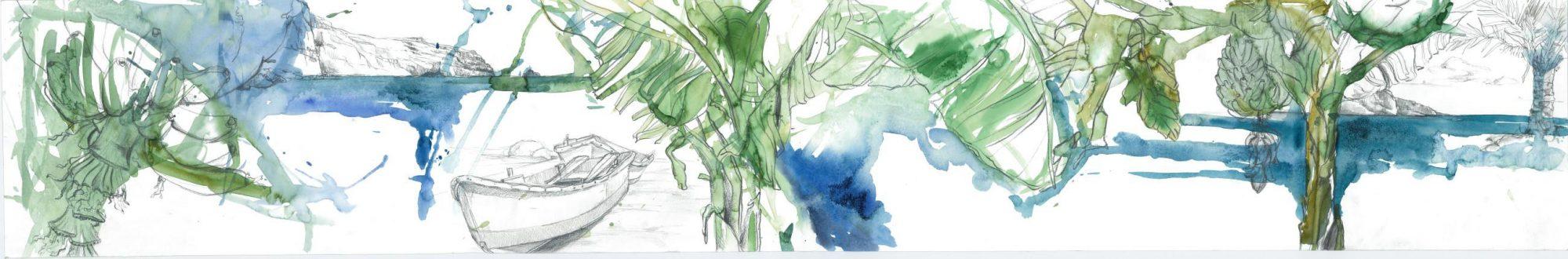 Gomera - Platano, 2013 Aquarell, 150x25 cm