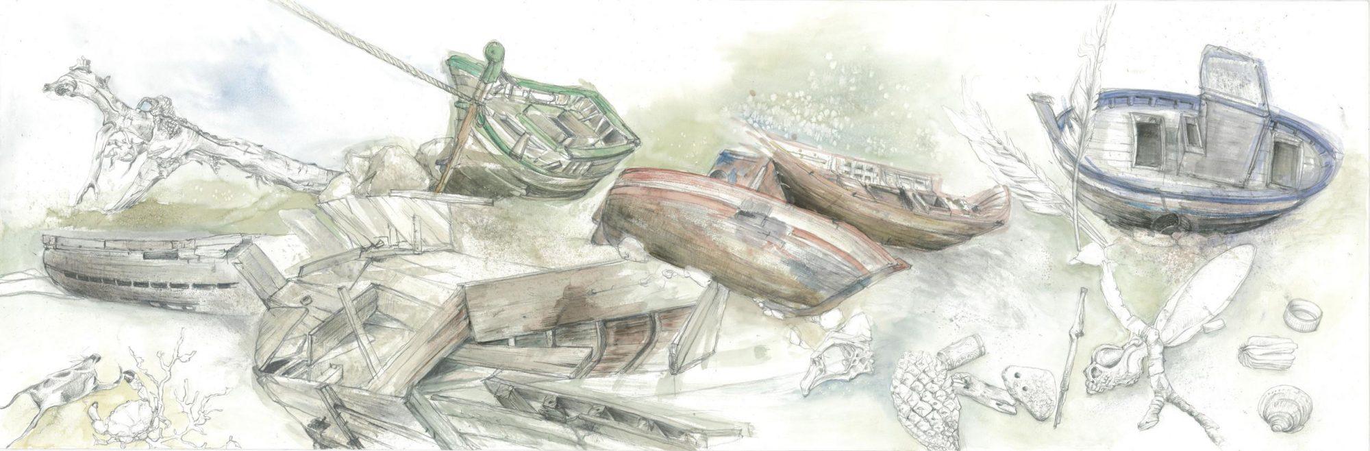 Meeresgeschichten, 2014 Aquarell 150x50cm