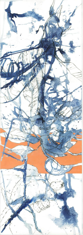 Pflanze mit orangem Band, 2014 Aquarell