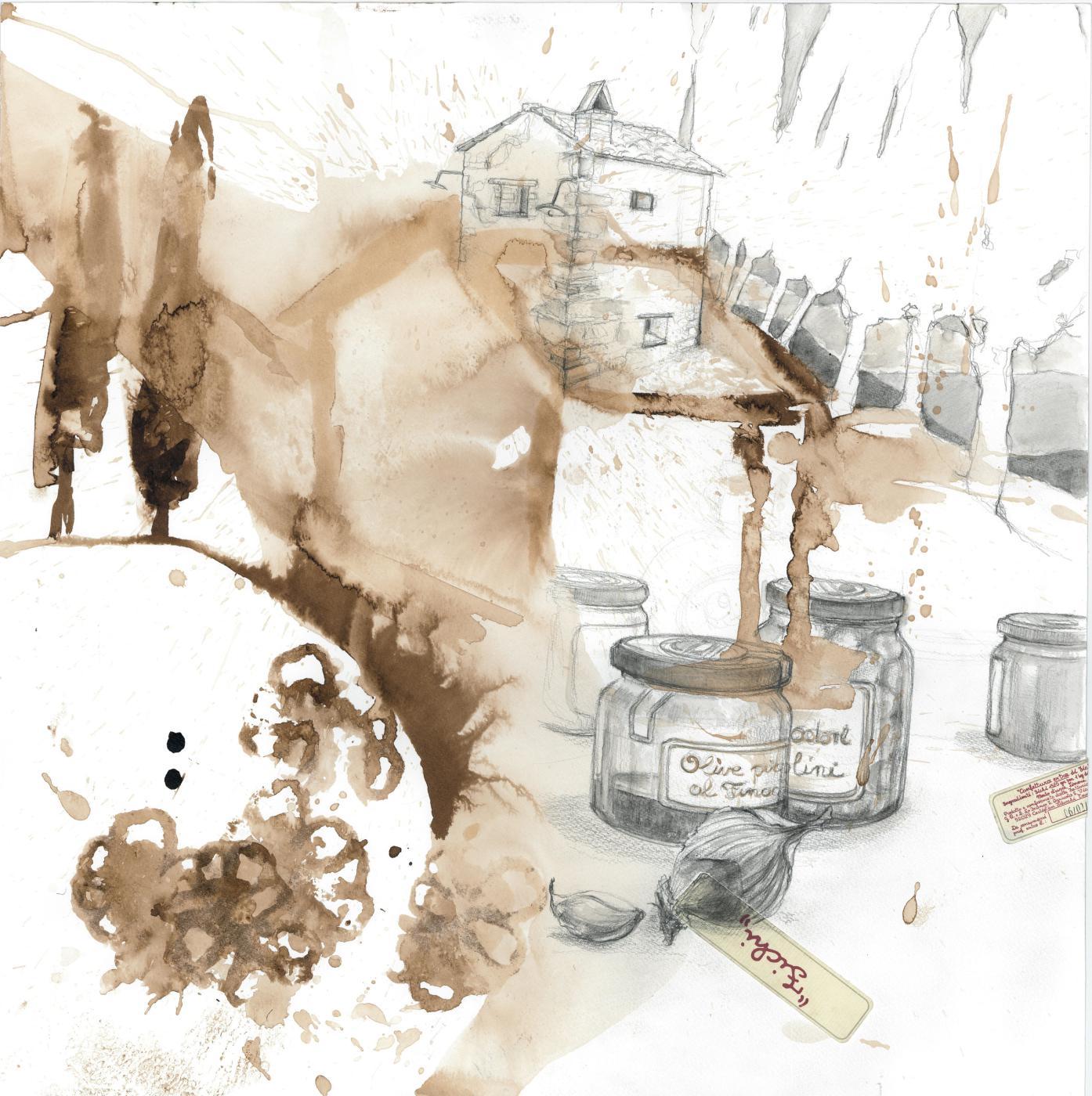 La Casottina, 2013 Aquarell, Moorlauge, 50x50 cm
