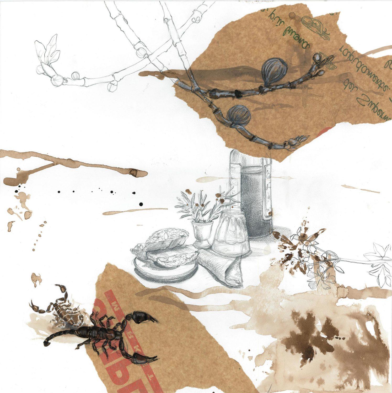 La Vialla Skorpion,  2013 Aquarell, Moorlauge, 50x50 cm