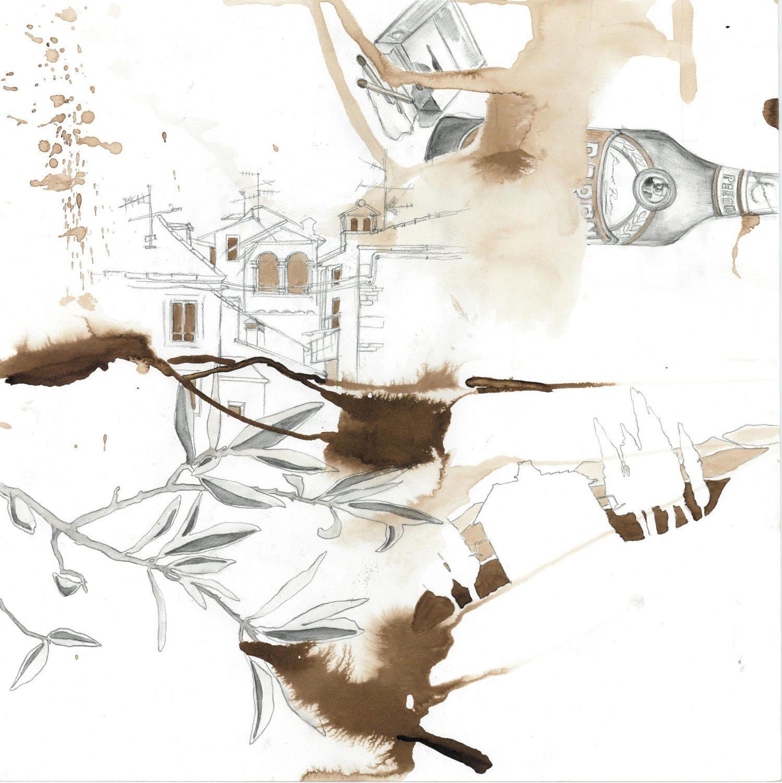 Peron,  2013 Aquarell, Moorlauge, 50x50 cm