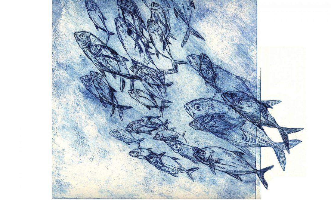 Fische doppelt Blau (Radierung Auf Papier 50 x 50 cm)