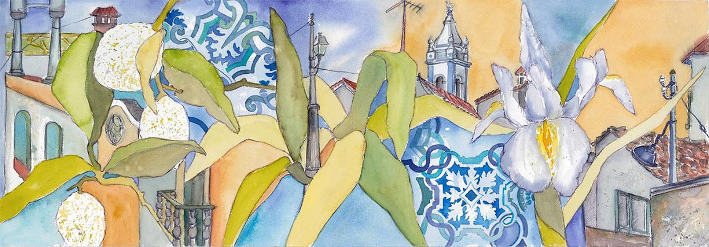Portugal-Aquarell-auf-Buetten-35x100-cm-Kerstin-Mempel