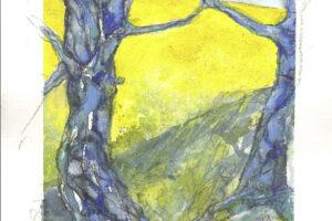 Rapsodie 2 blaue Baum 30x40 cm Aquarell