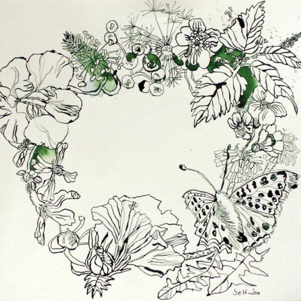 Blütenkranz mit Schmetterling