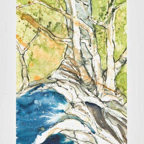 Bäume (4) Bach blau